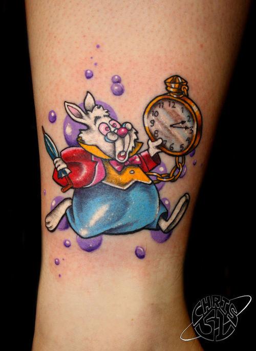 Le lapin blanc - Tatouage Alice au pays des merveilles
